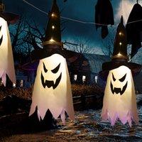2021 new hot Halloween Decoration LED Flashing Light Gypsophila Ghost Festival Dress Up Glowing Wizard Ghost Hat Lamp Decor Hanging Lantern
