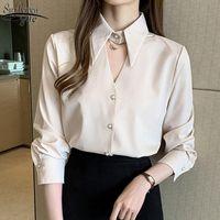Women's Blouses & Shirts 2021 Autumn Solid White Womens Clothing Korean Office Tops Women Chiffon Long Sleeve Cardigan Blusas Mujer 10500