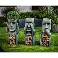 نرى السمع الكلام لا الشرير حديقة جزيرة عيد الفصح تماثيل الإبداعية حديقة الراتنج النحت الديكور في الهواء الطلق عناق L0409