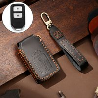 Hallmo Car Cowhide Leather Key Protective Cover Key Case for Honda 2-button
