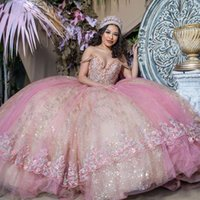 Gorgeous 2021 Beaded Ball Gown Quinceanera Dresses Sequined Off The Shoulder Appliqued Prom Gowns Sweep Train Tulle Sweet 15 Masquerade Dress