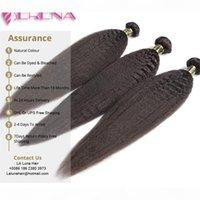 7A Virgin Brazilain Winkely Straight Haar mit Verschluss Afro Verworrene Gerade Menschenhaarbündel mit Verschluss Grob Yaki Jungfrau Haar