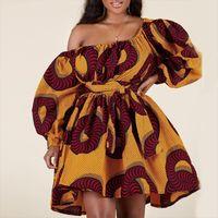 African Sexy Off Women Femmes Robe Mini Dashiki Tribal Imprimer Afrique Lady Robe Vêtements Africaine Femme Vestidos