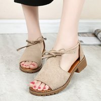 Sandals Female peep toe sandals, summer shoes, fake suede, 34-44 sizes D00P