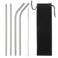 8.5 Inches Eco Friendly Reusable Straw Stainless Steel Straw Metal Smoothies Drinking Straws Set with Brush Bag GWB10506