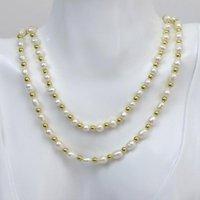 Pendentif Colliers 3 PCS Mélange Couleur Perles et Riz Bele Bead Strand Collier naturel Cadeau de bijoux à la main 90021