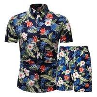 2019 الصيف الأزياء الأزهار طباعة قمصان الرجال + السراويل مجموعة الرجال قصيرة الأكمام قمصان الرجال الملابس الرجال مجموعات رياضية زائد الحجم 3xl