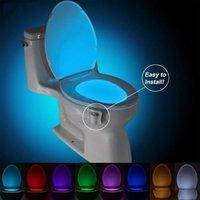 Tuvalet malzemeleri gece lambası led lamba akıllı pir hareket sensörü tuvaletler koltuk ışıkları 8 16 renkli su geçirmez wc tuvalet-kase lambaları