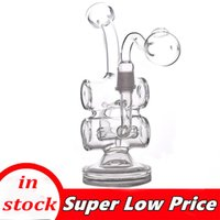 1pcs Glass Bong Hookahs 8 Inch Tornado Percolator Recycler Water Pipes 14mm Female Oil Dab Rigs With male glass oil burner pipe cheapest