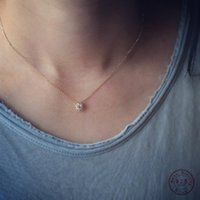 Pendant Necklaces 925 Sterling Silver Simple Diamond Gold Small Sun Necklace Women Light Luxury Wedding Jewelry Accessories