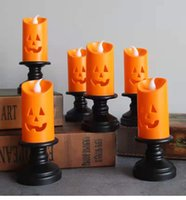Halloween Candle Light LED Colorful Candlestick Table Top Decoration Pumpkin Party Happy holidays Partys Decor lamp For Home