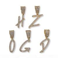 A-Z Nome Personalizado Escova Fonte Letras Personalizar Pingente Colar Corrente de Prata Ouro Bling Zirconia Homens Hip Hop Pingente Jóias
