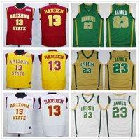 NCAA Arizona Estado Sol Devils College James # 13 Harden Jersey costurado Stitched Stitch Vincent Mary High School Irish LeBron 23 James Basketball Jerseys