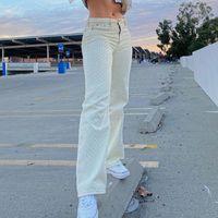 Women's Jeans Y2k Streetwear Traf Wide Leg Pants White Brown High Waist Ripped Texture Trend Retro Fashion Clothing Women Autumn Winter