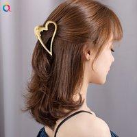Heart Women Gold Hairgrip Geometric Metal Hair Claw Clamps Clips Headband Hairpin Fashion Hairclip Accessories
