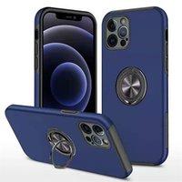 Cas de téléphone cellulaire de conception simple TPU + PC Hard PC 360 ° Porte-bague en métal Porte-stand de voiture pour iPhone 12 Mini 11 Pro Max XS XR 7 8 Plus S21 Sac ultra-opp