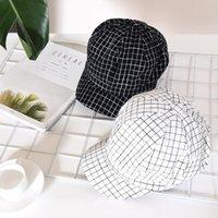 Sombrero de lana Mujeres gruesa cálida gorra de béisbol snapback bonete moda casual algodón malla blanco y negro plaid 4.30 visores