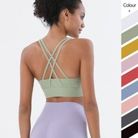 Yoga Cross Sports Back Bra Solid Color Tanks Camis Gym Fitness Clothes Women Underwears Shockproof Gather Padded Tops Vest