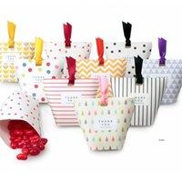 Yaratıcı Kraft Kağıt Şeker Hediye Kutuları Şekli Düğün Iyilik Hediye Paketleme Kutuları Dragee Kutusu Çanta Şerit FWF7062