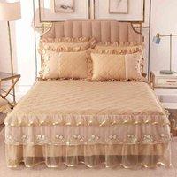 3/10 stücke Baumwolle gesteppt für Mädchen Staub Rüschen Home Decor Bett Rock BettSpread Kissenbezüge