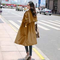 Outerwear Chic Overcoat Women 2021 Fashion With Belt Coat Vintage Long Sleeve Pockets Female Women's Trench Coats