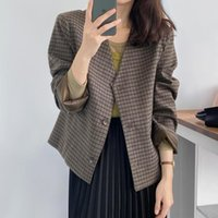 Women's Suits & Blazers Retro Plaid Long Sleeve Woman V-Neck Single-Breasted Button Tailored Coat Women Autumn Fashion Short