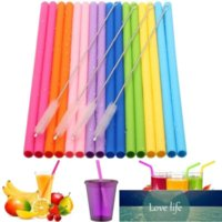Bar Tools 1 Set Reusable Food Grade Silicone Drinking Straws Set, Long Flexible with Cleaning Brushes for Tumbler Party