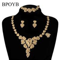 BPOYB 2021 Luxury Big Brazilian Gold Color Jewelry Set Fashion Crystal Love Heart Dubai African Jewelri