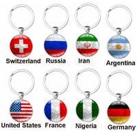 Russia World Cup Football Keychains ring 32 Countries Peru Sweden Tunisia Senegal Soccer Key Chains Souvenir GC1H