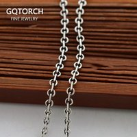 """Chains Real Solid 925 Sterling Silver Jewelry Vintage Italian Round Rolo Lobster Clasp Cable Link Necklaces Fashion Chain 16"""""""