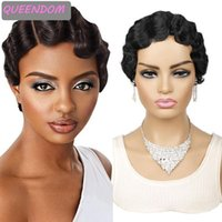 Synthetic Wigs Short Finger Wave Wig Pixie Cut Red For Black Women Hair Heat Resistant Cosplay No Lace Brown Blonde