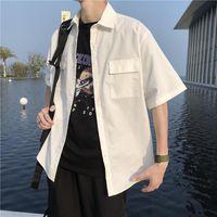 남성 셔츠 대형 3XL 짧은 소매 버튼 턴 다운 칼라 포켓 사파리 스타일 레트로 INS 헐렁한 캐주얼 모든 일치 2021 세련된 남자