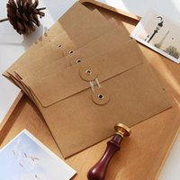 Gift Wrap Vintage Brown Portfolio Kraft Paper Envelopes With Button String Tie Closure Clasp For Greeting Cards Letter Pos Journal