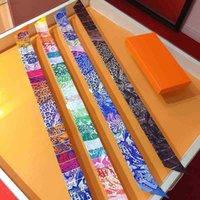 Schals Womens Mode Rainbow Schal Halsausschnitt Handtasche Dekoration Farbe Seide Schaldesigner Leopard Muster Vier Farben erhältlich mit Geschenkbox 5x86cm