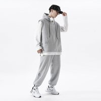 Men's Tracksuits Autumn harajuku waffle all men solid suit with hoodie and casual jogging pants 2 men's ensemble sweater big cloth