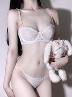 Wriufrred فتاة منظور الرصاص لطيف وحلوة مجموعة اليابانية نصف كوب رقيقة الصدرية حمالات الصدر مجموعات