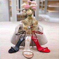 2020 High 9cm calcanhar Rene Caovilla Crystal Karung Rose Gold Snakelike Twining Sandálias Sandálias Mulheres Verão Verão Grosso Saltos grossos