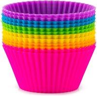 실리콘 베이킹 컵 도구, 재사용 컵 케이크 라이너 Nonstick 머핀 컵 케이크 금형 표준 크기 컵 케이크 홀더 세트