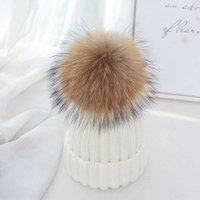 2021 Real Raccoon Fur Pompon Winter Hat Skullies Girl Pom Beanie Warm Knitted Bobble Fur Pompom Hat and Scarf Set Children G0924