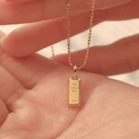 Zhaocai Baofu small bar Necklace women's 18K plated gold brick clavicle chain lovers' best friend Pendant New Style in 2021