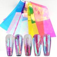 8 folhas Gradiente Aurora Nail Art Adesivo, Shinning Folha de papel de vidro adesivos, espelho de vidro quebrado listra de vidro decalques, holográficos iridescentes laser pregos