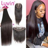 Human Hair Bulks Luvin Bone Straight 3 4 Brazilian Bundles With 4x4 5x5 HD Transparent Lace Closure 13x4 Frontal Raw Virgin And