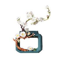 Chinesische klassische keramische vase tinte stil vasen schreibtisch dekor floral blume anordnung künstliche blumen vintage dekoration