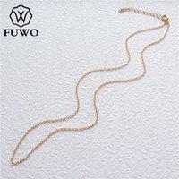 Fuwo оптом латунные круглые ожерелья цепные ожерелья высококачественные антиэтажные 24K золотая цепочка для ювелирных изделий 1,5 * 2,0 мм NC001 R8XW #