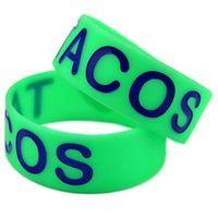 Charme pulseiras 1 pc eu amo tacos debossed e preenchido na cor pulseira de silicone