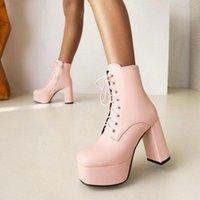 Boots Sianie Tianie Plain Pink White Black Gothic Punk Lace-up Woman Shoes Winter Block High Heels Ankle Platform Women