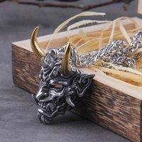 Pendentif Colliers Vikings Bijoux Jamais Fainement en acier inoxydable Satanic Demon Hommes collier avec boîte en bois comme cadeau