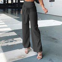 Women's Pants & Capris Celmia Women Wide Leg Belted Fashion 2021 Elegant Elastic High Wasit Casual Loose Office Long Trousers Streetwear
