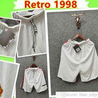 1998 1999 Retro United Soccer Shorts UTD 98 99 مان خمر كلاسيكي المنزل أبيض كرة القدم السراويل # 7 كانتونا # 10 بيكهام # 20 Solskjaer كين