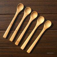 30 unids / lote 19 cm cuchara de madera Ecofriendly Japón Vajilla de la vajilla de bambú Coffee Honey Tea Ladle Stirrer Vajilla Scoopzc264